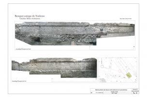 Photomontage des faces interne et externe du rempart antique