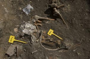 Rouen, Saint-Eloi, sépulture découverte lors du diagnostic en 2017