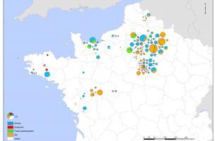 Répartition des structures de stockage dans le nord-ouest de la France (Ve - IIIe siècle avant notre ère)