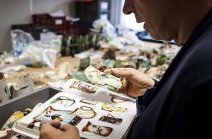 Identification de milliers de fragments de barbotine découverts dans un dépotoir à Vénissieux (Rhône), 2016.