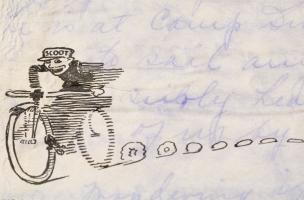 Détail du papier de la lettre au sergent Liepman datée de 1918. Fouille d'un site mérovingien à Messein (Meurthe-et-Moselle), 2004.  Le courrier se compose d'une enveloppe et de quatre feuillets sur papier à pâte mécanique, illustré. Seul leur recto est m