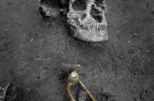 Crâne d'un individu inhumé dans la nécropole guerrière de Buchères (Aube), et fibule à décor de corail, IVes. avant notre ère, 2013.