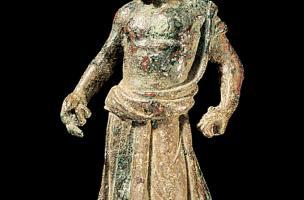 Statuette en bronze du dieu Vulcain, datée entre le IIe et leIIIe siècle de notre ère et mise au jour à l'occasion des fouillesà l'emplacement dela Cité Judiciairede Bordeaux en 1995.