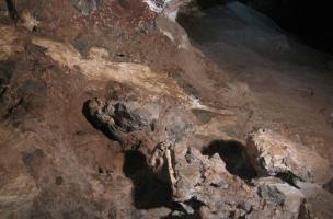 Afin de connaître l'âge du fossile, il importe tout d'abord de bien comprendre la stratigraphie du site, c'est-à-dire la relation entre les couches de sédiments et le squelette de Little Foot.On distingue ici les niveaux de brèches (de couleur foncée) et