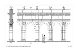 Hypothèse provisoire de restitution d'une section de la façade monumentale du sanctuaire du IIes. de notre ère mis au jour à Pont-Sainte-Maxence (Oise), 2014.