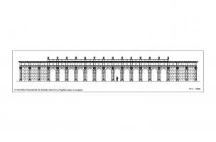 Hypothèse provisoire de restitution de la façade avec ses treize arcades, sanctuaire du IIes. de notre ère, Pont-Sainte-Maxence (oise), 2014.