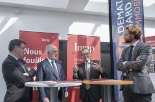Présence du groupe Demathieu Bard Immobilier dans les locaux de l'Inrap le 23 mai 2018 dans le cadre de la signature d'une convention-cadre de collaboration