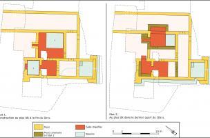 vue de la fouilleplan des deux états architecturaux du secteur balnéaire
