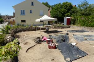 Vue générale du chantier en cours de fouille, à Sevrey