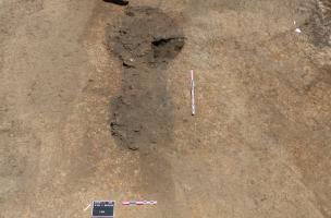 Vue d'un des fours de potier en cours de fouille à Sevrey 02
