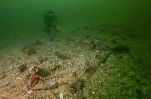 Chaussée métallique de débarquement identifiée lors de l'évaluation archéologique conduite dans le cadre du projet de parc éolien en mer de Courseulles-sur-Mer