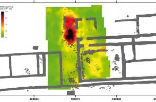 Carte de susceptibilité magnétique sur un bâtiment gallo-romain