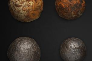 Quatre boulets dont 2 restaurés