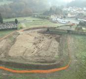 Vue aérienne du cimetière en cours de fouille