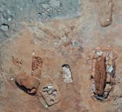 Vue aérienne de sépultures de la nécropole de Sant'Appianu.
