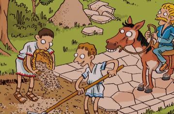 La Gaule romaine à petits pas (c) Benjamin Lefort, Coédition Actes Sud Junior et Inrap