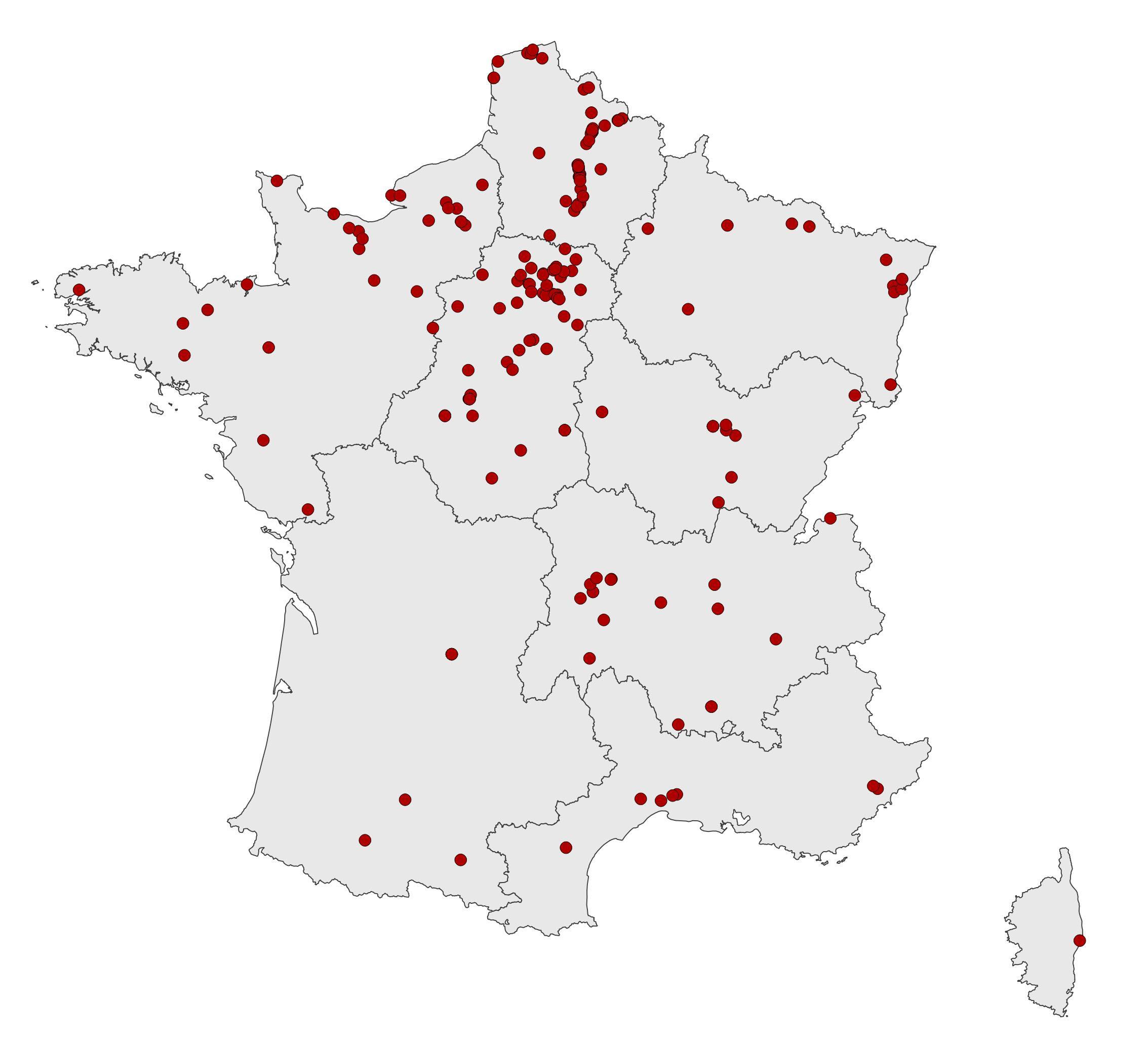 Carte de localisation des études géophysiques réalisées par l'Inrap (juin 2019)