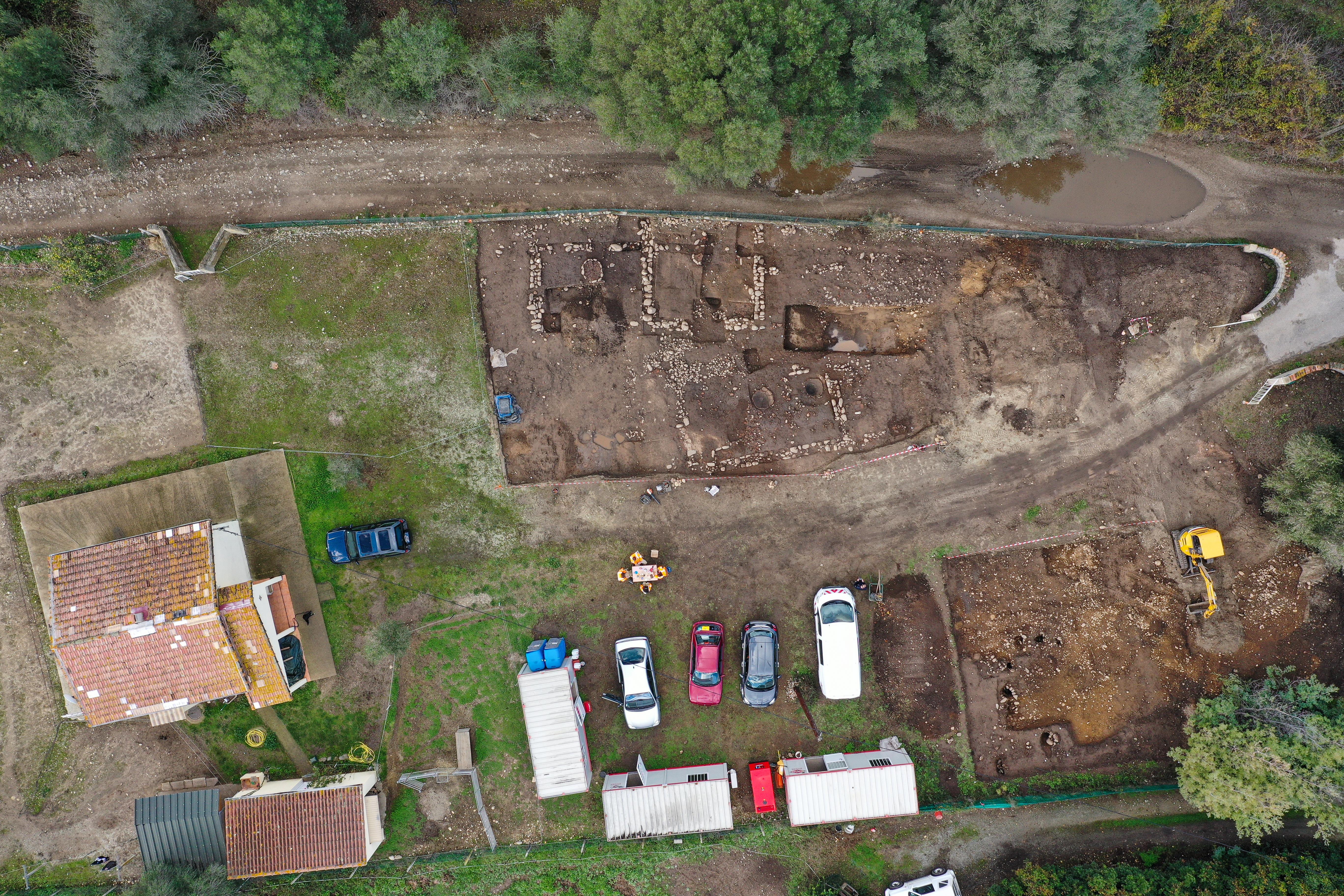 Orthophotographie de l'ensemble des emprises de fouilles et des recherches archéologiques menées par l'Inrap sur le site de Prunelli-Chiarata.