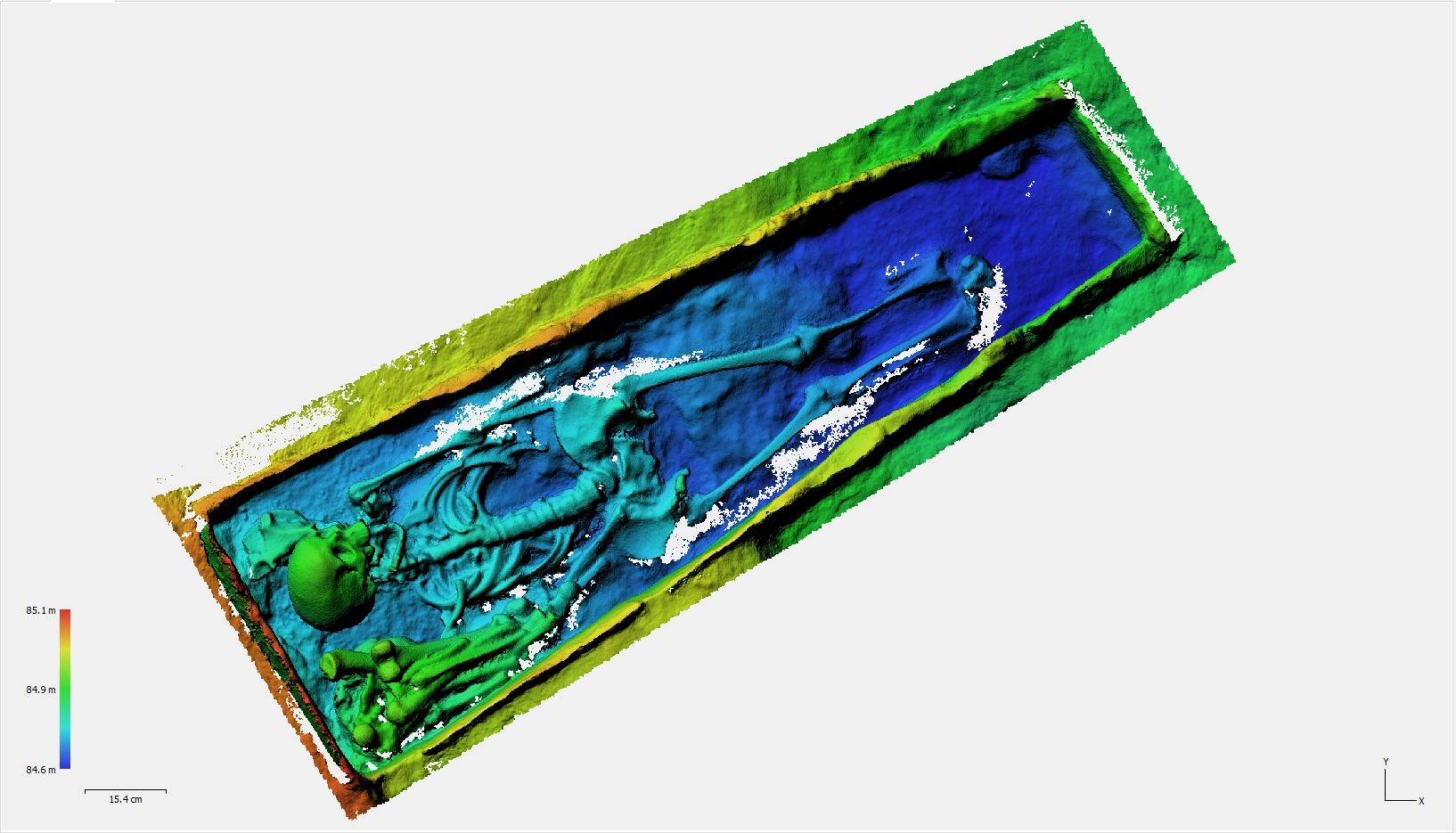 Fig.08. Le MNE (modèle numérique d'élévation). Les couleurs représentent des profondeurs différentes.