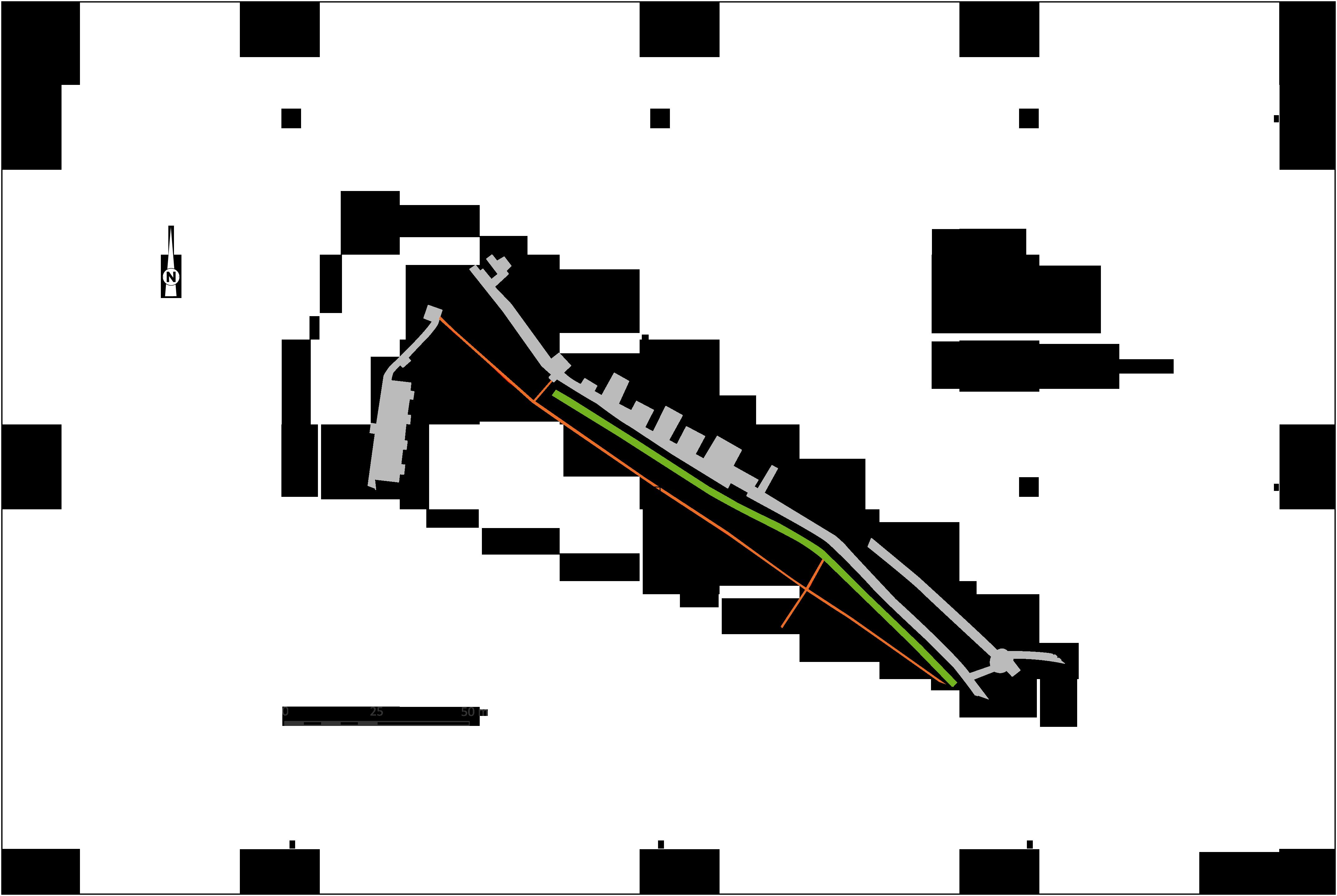 Plan général des vestiges, C. Bertrand (Topo), E. Lemaure (DAO), Inrap