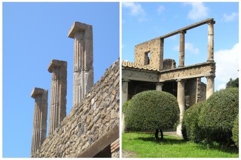 Piliers à demi-colonnes engagées et colonnes libres
