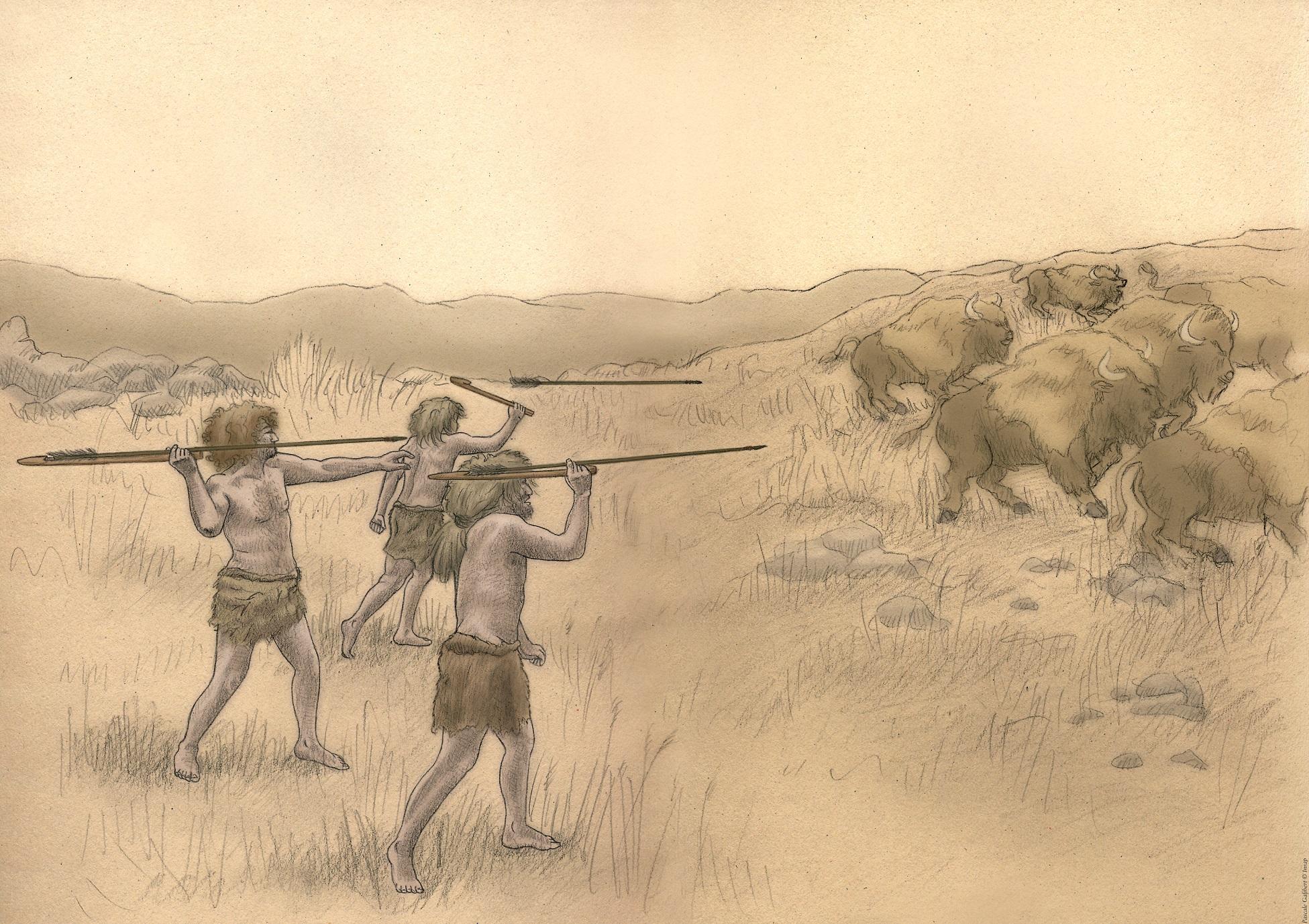Dessins d'hommes et animaux du Paléolithique