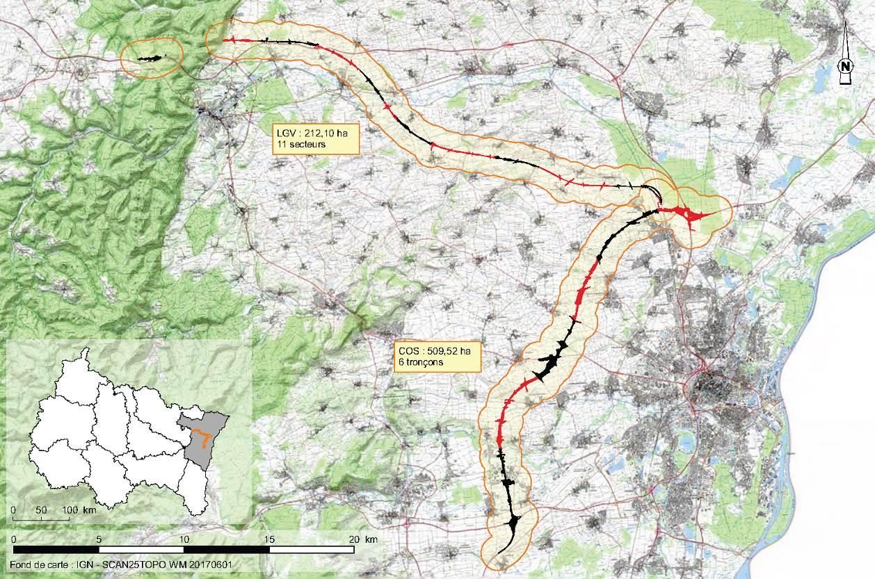 Tracés de la LGV Est européenne et du contournement Ouest de Strasbourg