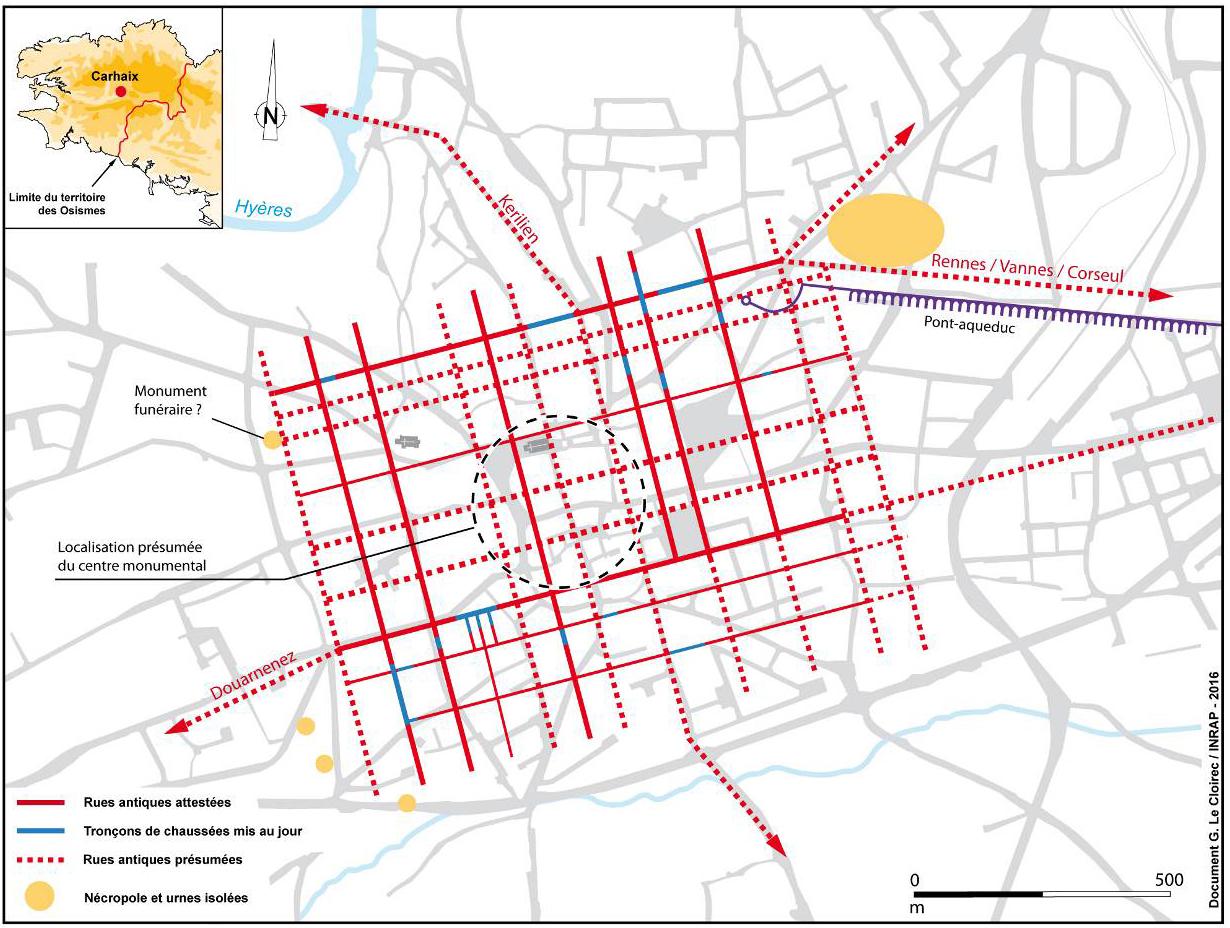 Plan de la ville antique de Carhaix établi à partir des informations issues des interventions archéologiques réalisées depuis 1994