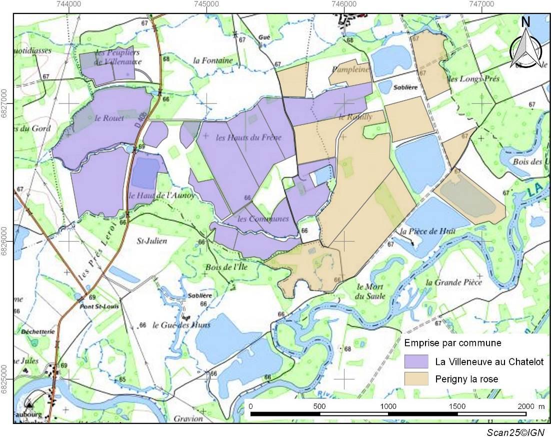 Localisation des emprises de diagnostic réalisé au cours des 22 dernières années sur les communes de la Villeneuve-au-Châtelot et de Périgny-la-Rose